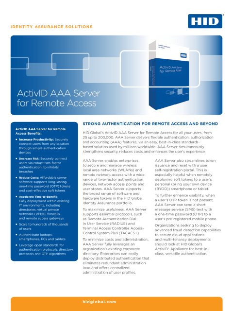ActivID AAA Server for Remote Access
