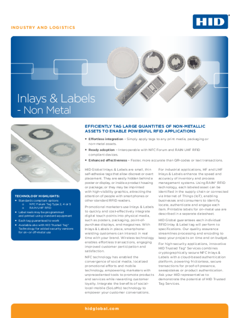 Inlays and Labels - Non Metal Datasheet